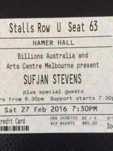 Sufjan Stevens ticket