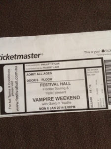 Vampire Weekend Festival Hall ticket