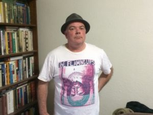 The author in Flaming Lips inverted Christ tee.