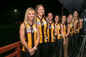 The Box Hill VFLW team - some good news at Hawthorn